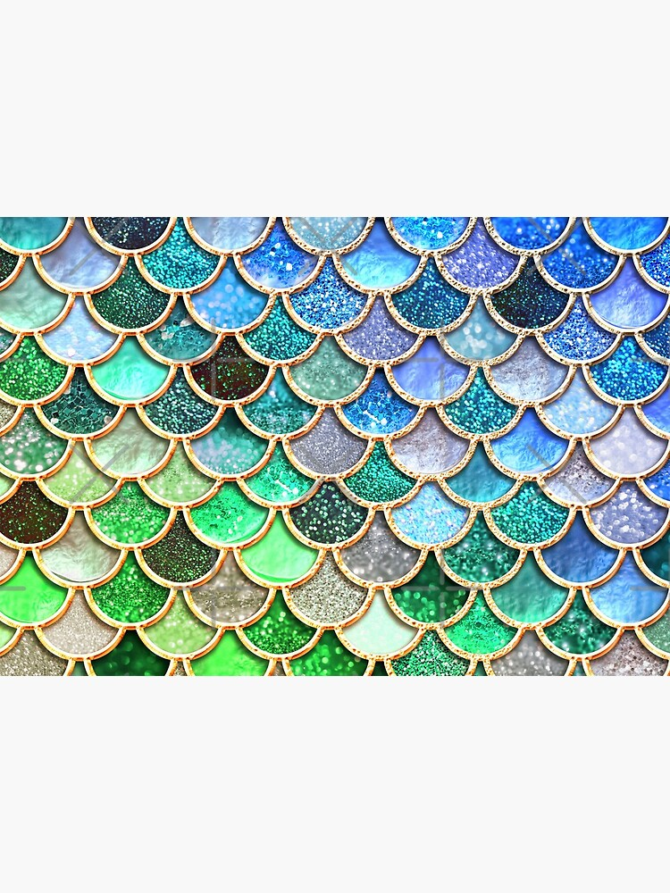 Green and Blue Sparkle Faux Glitter Mermaid Scales by UtArt