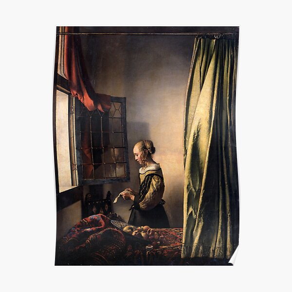 Girl Reading a Letter by an Open Window, by Jan Vermeer Poster