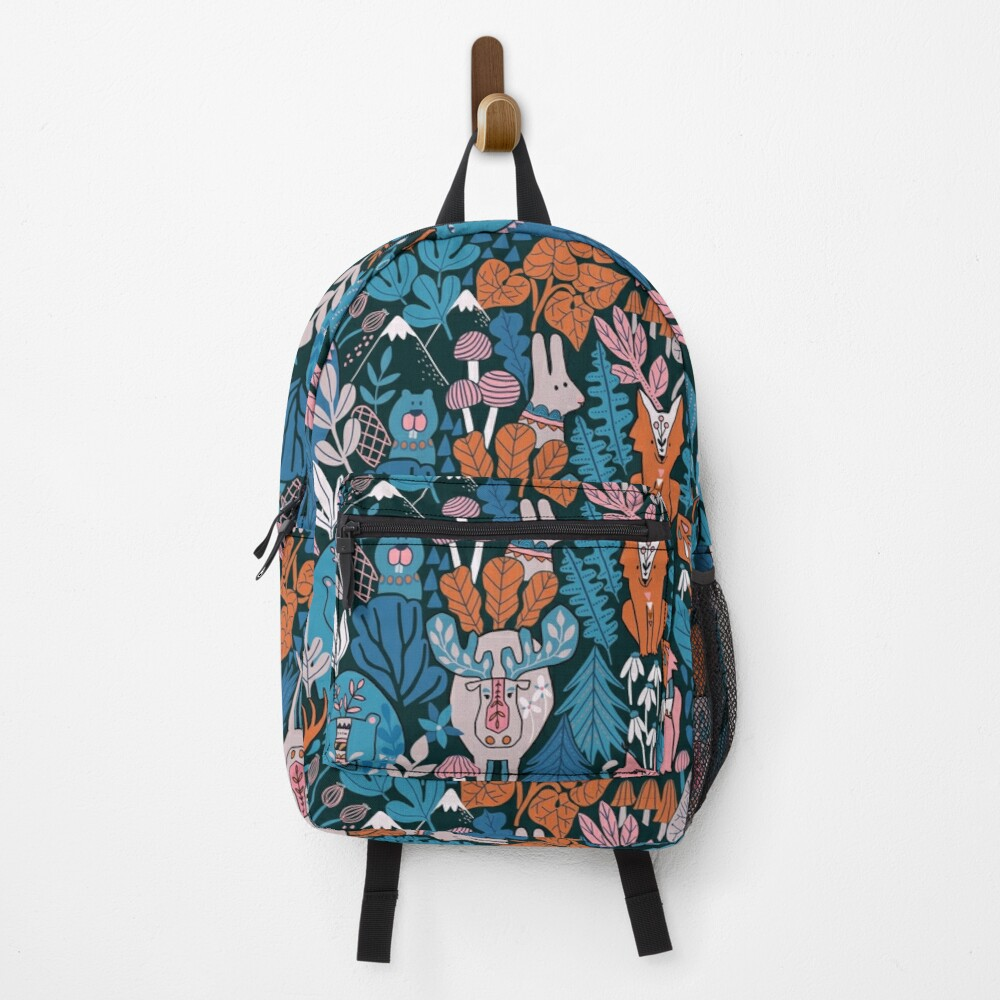 Animals of Canada. Forest, plants, mountains, mushrooms Backpack