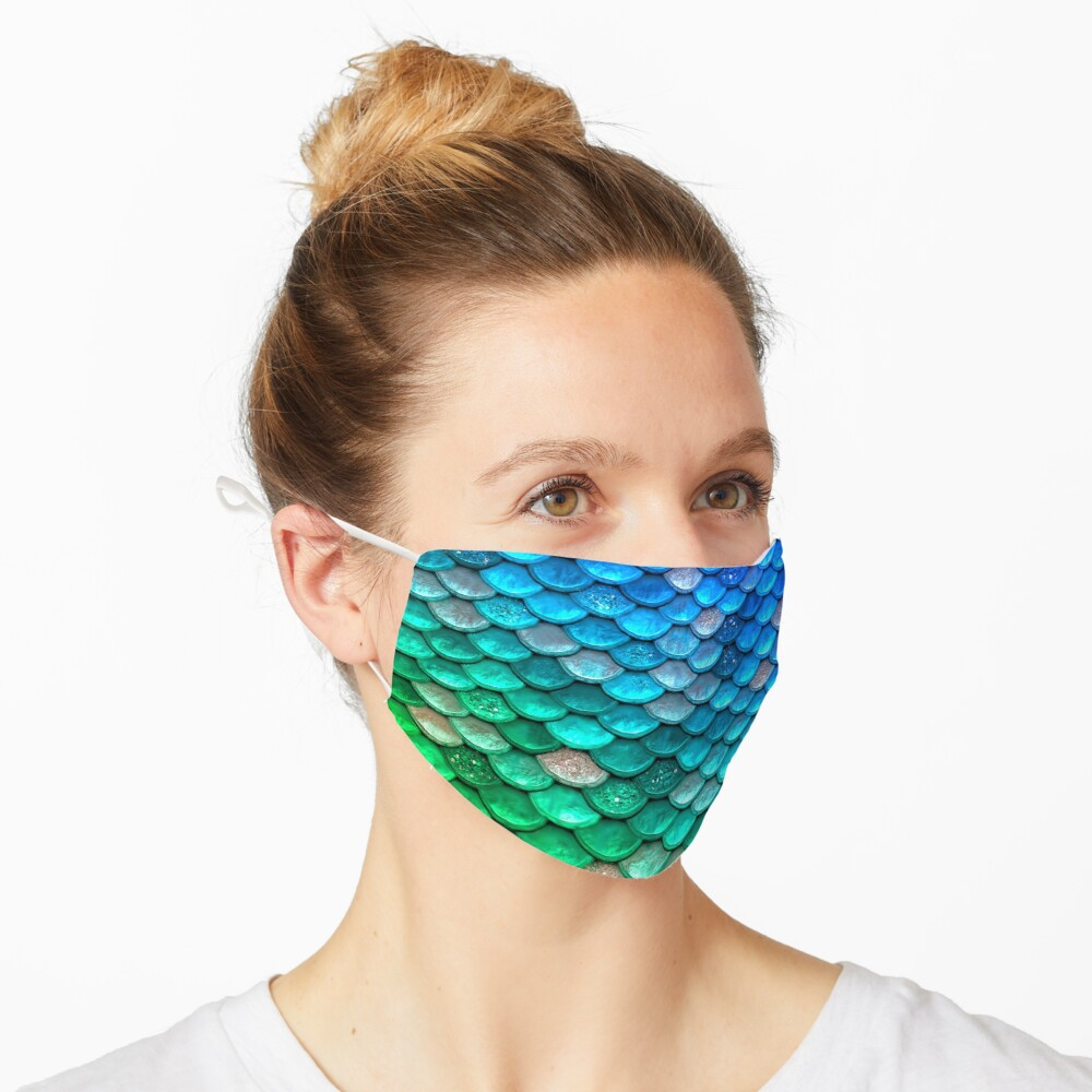 Green and Blue Sparkle Faux Glitter Mermaid Scales Mask