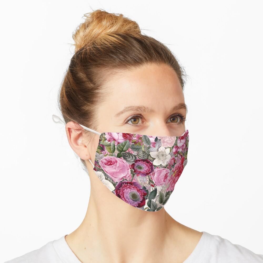 Vintage Pink Floral Pattern  Mask