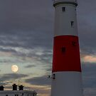 Portland Bill Lighthouse and Moon by bethadin