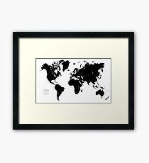 Black & White World Map Framed Print