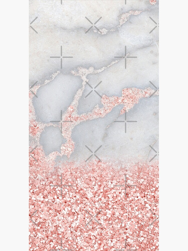 Rosegold Glitter Pink Sparkle Faux Marble by MysticMarble