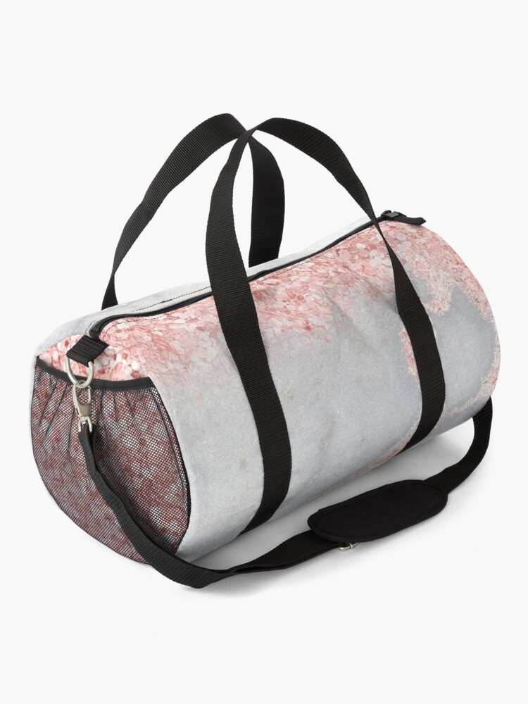 Alternate view of Rosegold Glitter Pink Sparkle Faux Marble Duffle Bag