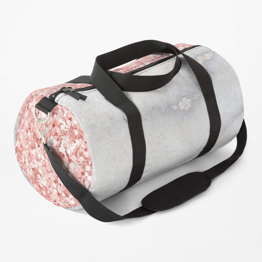 Rosegold Glitter Pink Sparkle Faux Marble Duffle Bag