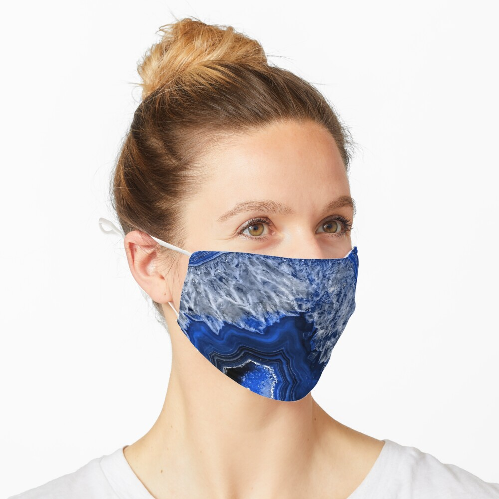 Ocean Blue Agate Mineral Gemstone Mask