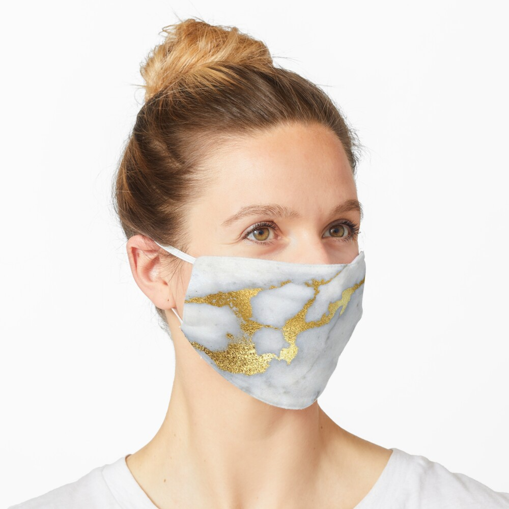 Gold Sparkle Veined Marble Mask