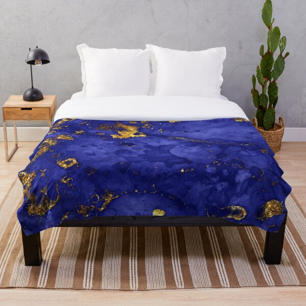 Indigo Blue and Gold veined Marble  Throw Blanket