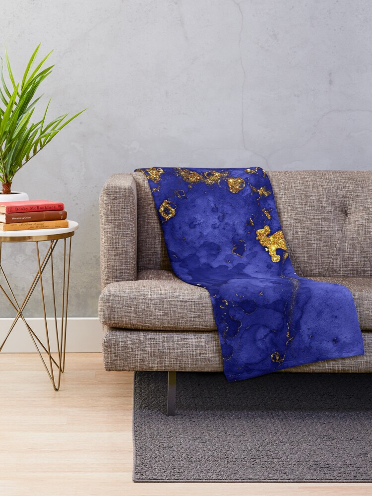 Alternate view of Indigo Blue and Gold veined Marble  Throw Blanket