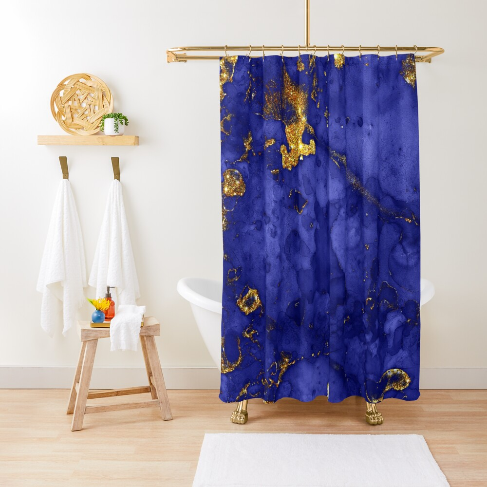 Indigo Blue and Gold veined Marble  Shower Curtain