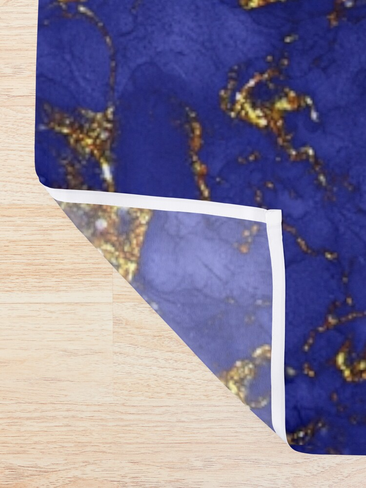 Alternate view of Indigo Blue and Gold veined Marble  Shower Curtain