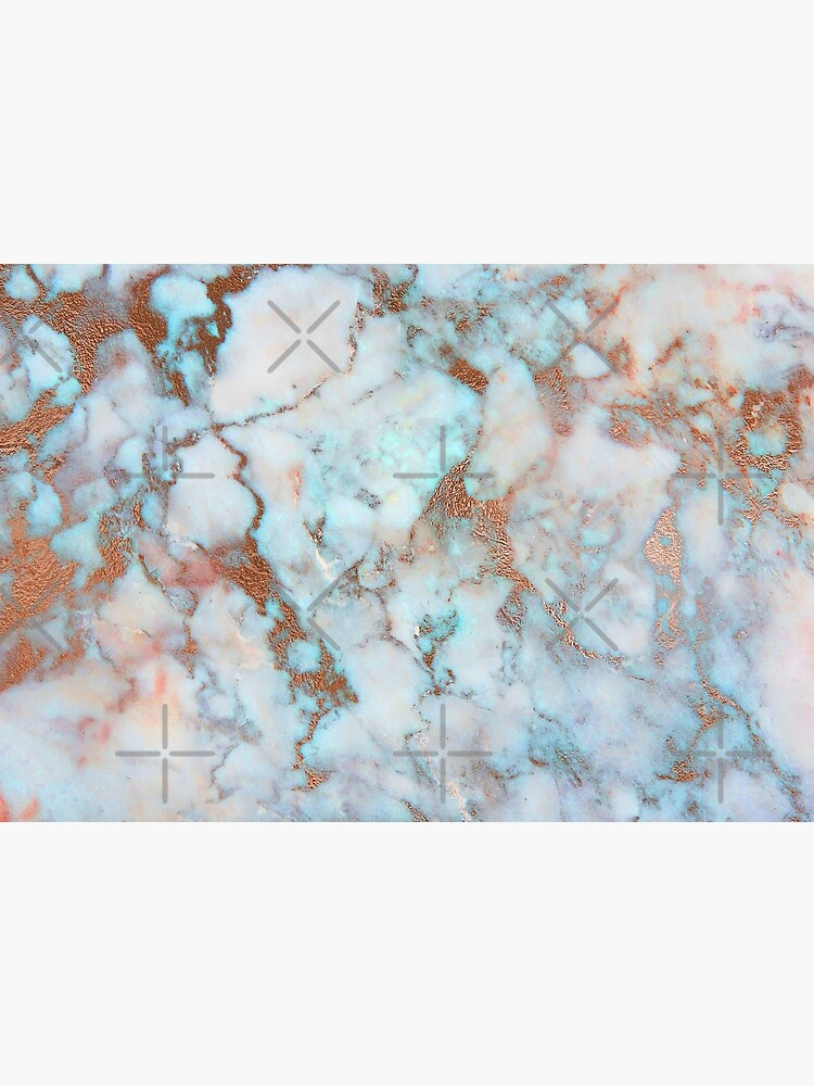 Copper Veins on light blue marble by MysticMarble