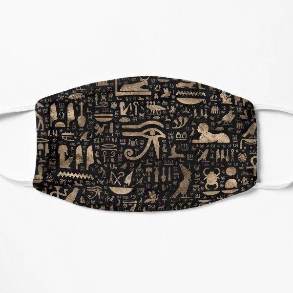 Jeroglíficos egipcios antiguos - negro y oro Mascarilla plana