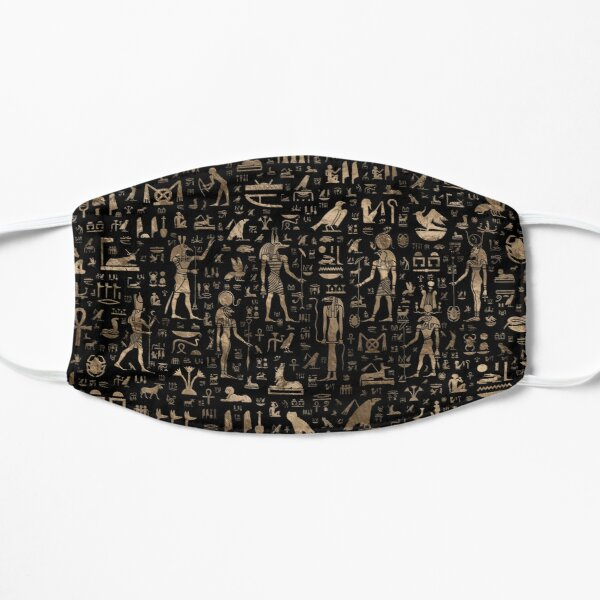 Ancient Egyptian Gods and hieroglyphs - Black and gold  Flat Mask
