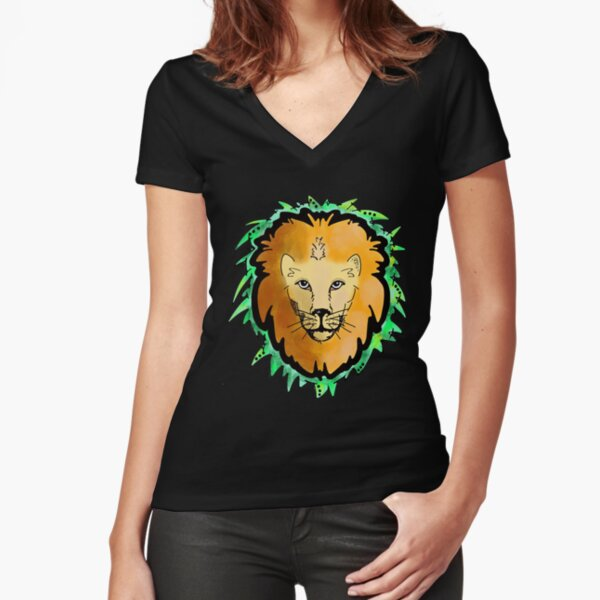 Golden Lion with Neon Green Fitted V-Neck T-Shirt