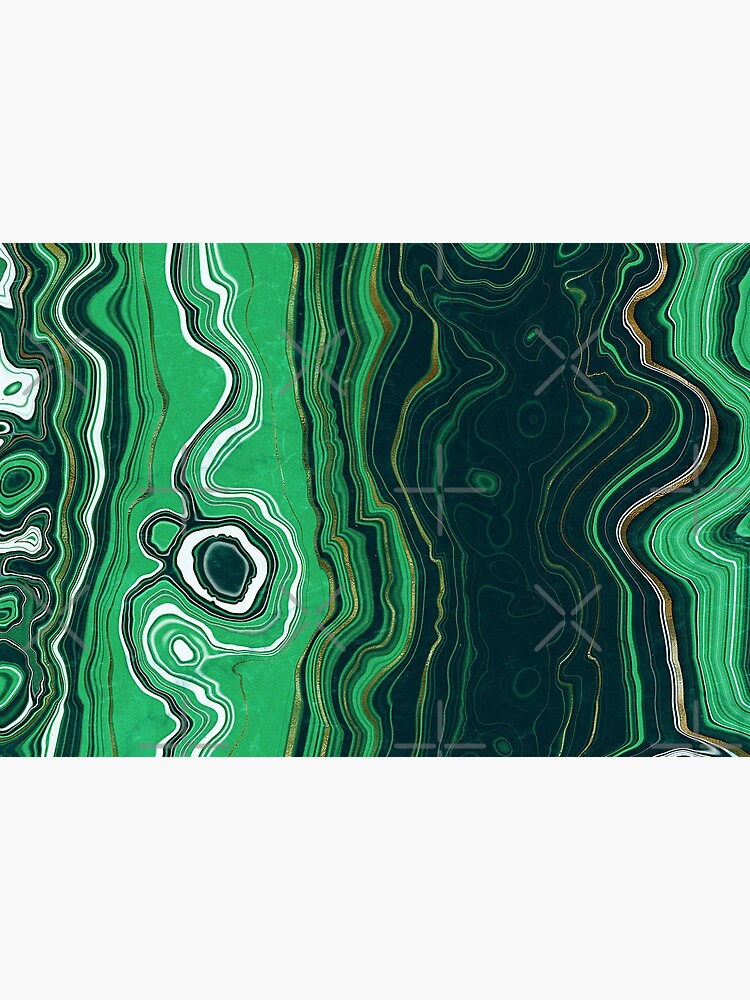 Malachite Green Marble with Gold Veins VI by MysticMarble
