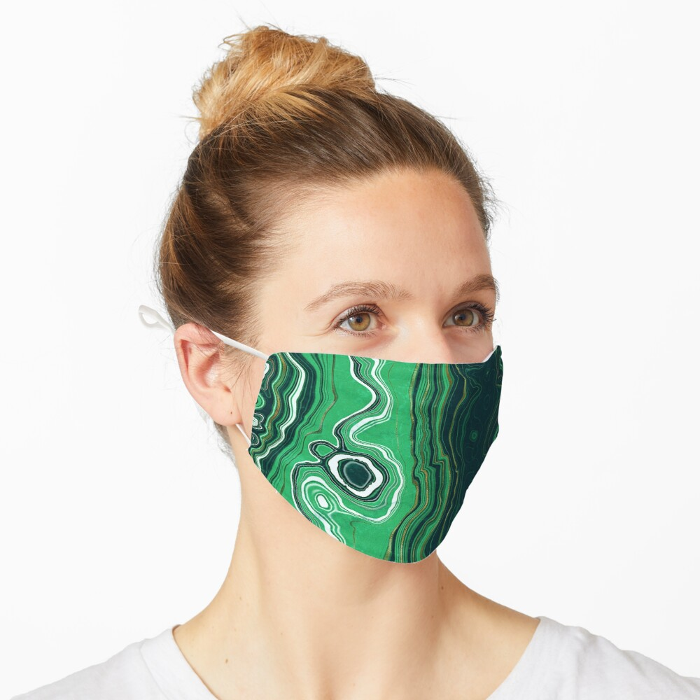 Malachite Green Marble with Gold Veins VI Mask