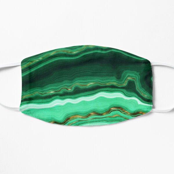 Green and Gold and Mint veined Malachite Gemstone Flat Mask