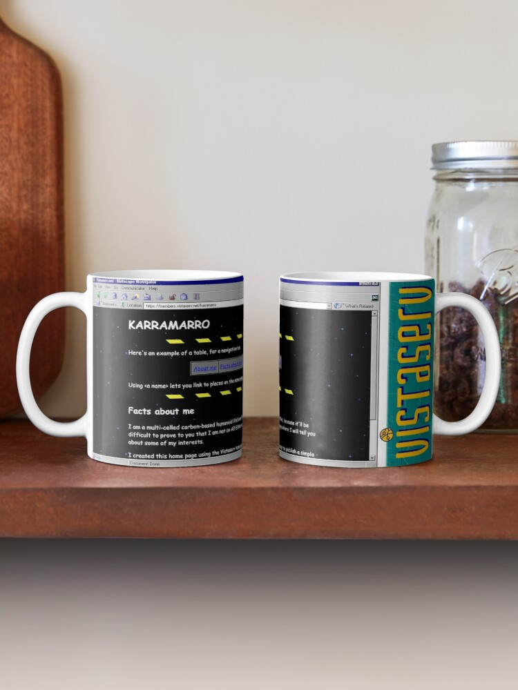 A mug with a screenshot of karramarro's home page on it