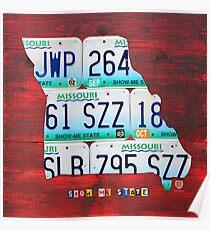 Missouri License Plate Map Poster