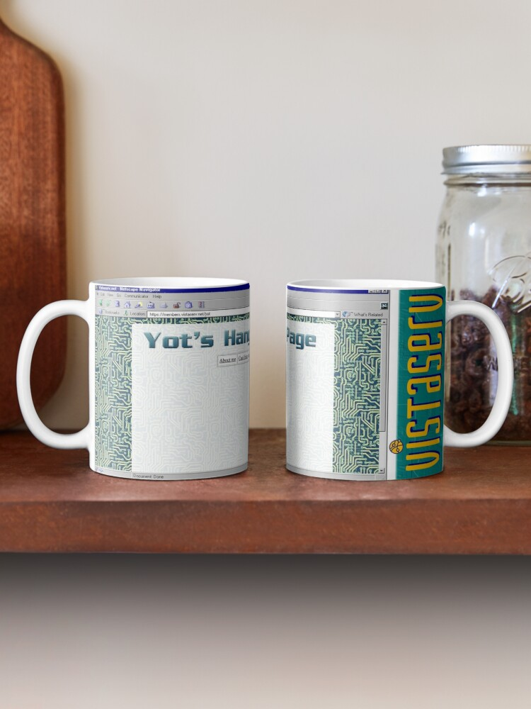 A mug with a screenshot of yot's home page on it