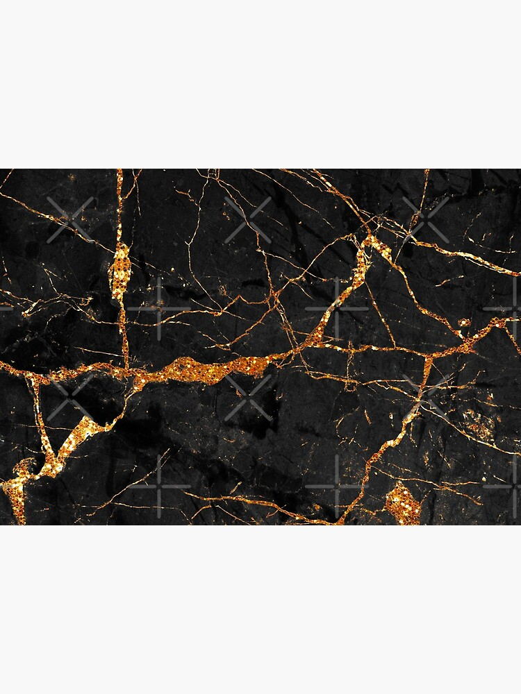 Black marble with gold glitter veins by MysticMarble