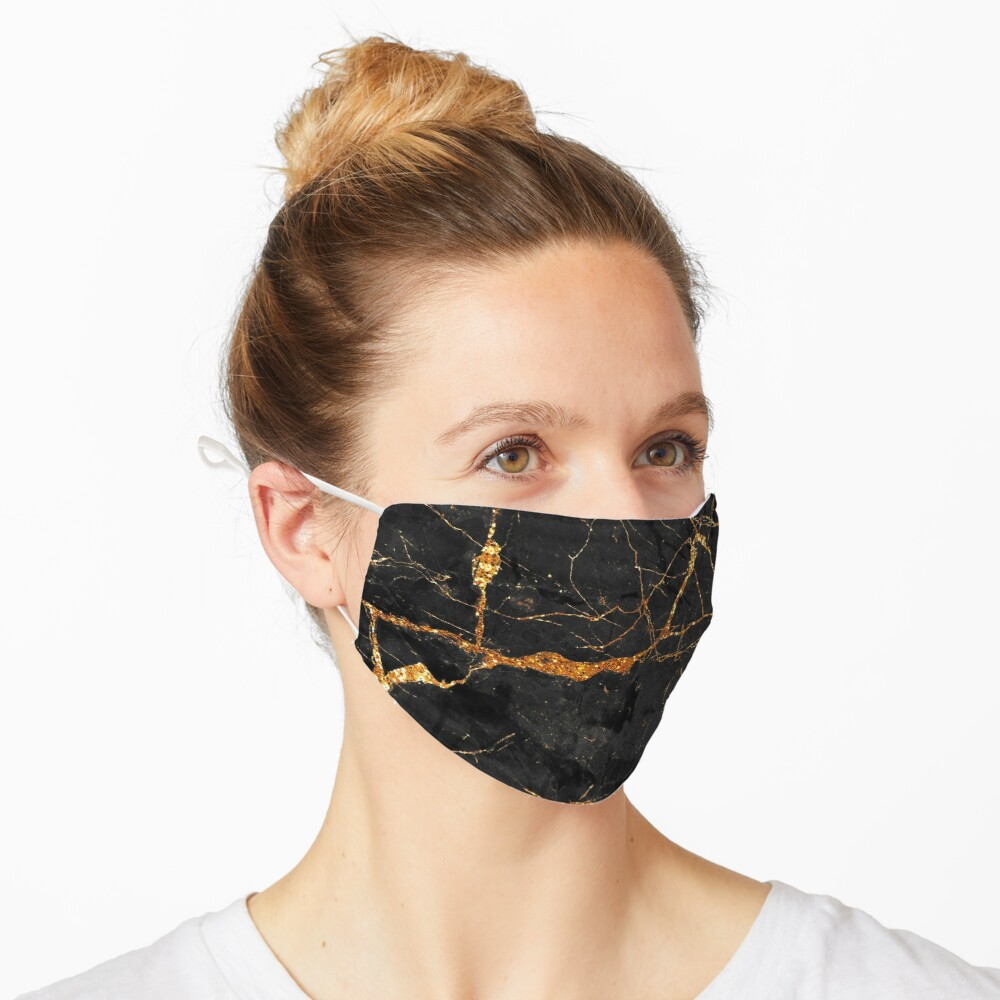 Black marble with gold glitter veins Mask