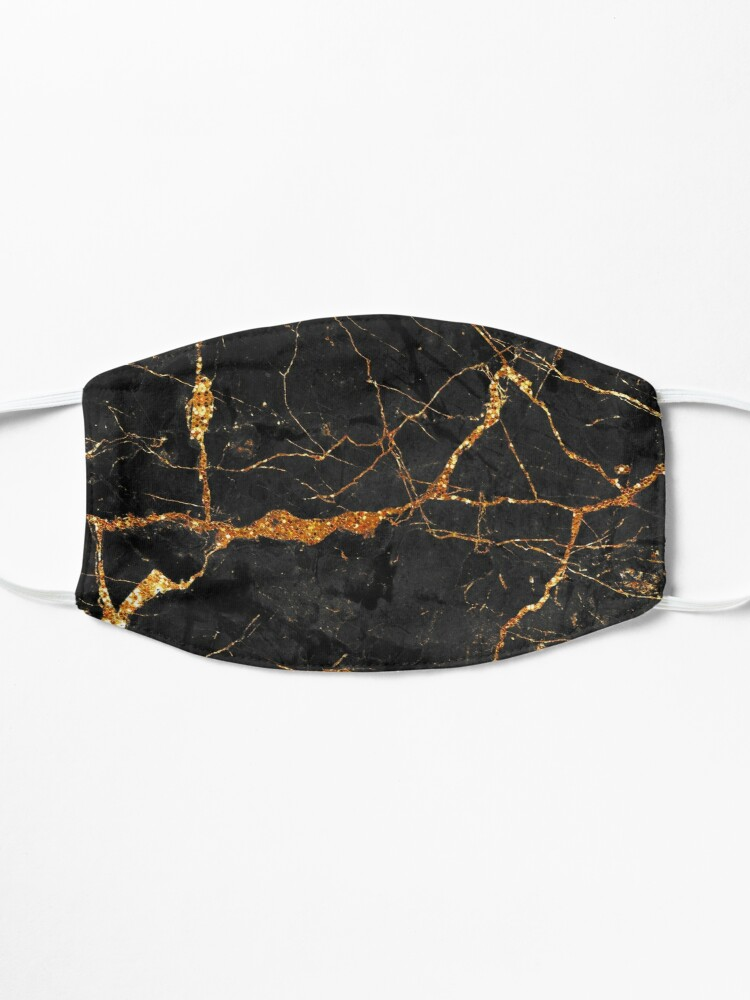 Alternate view of Black marble with gold glitter veins Mask
