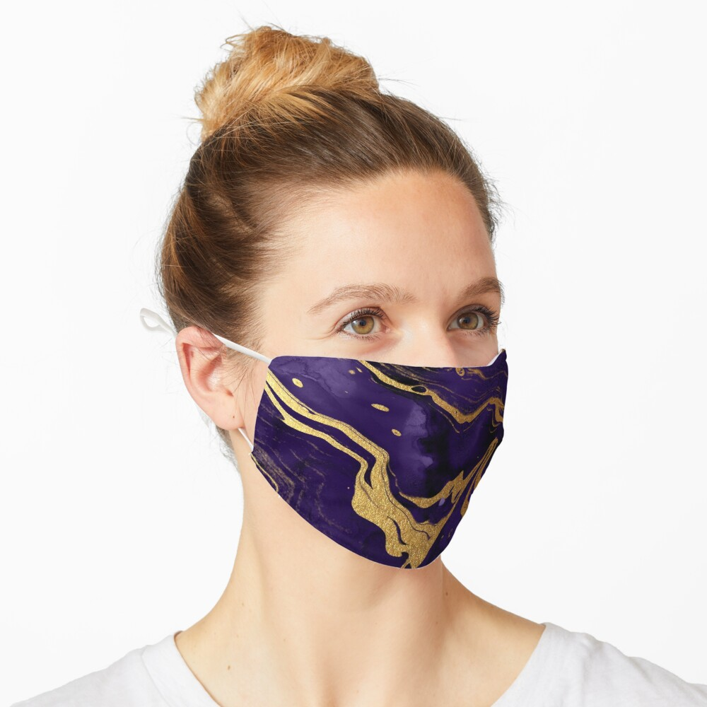 Dark Purple Ink Marble Texture with Gold Veins Mask