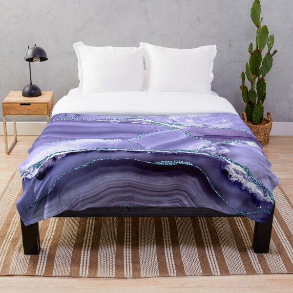 Purple Mermaid Glitter Agate and Marble Landscape Throw Blanket