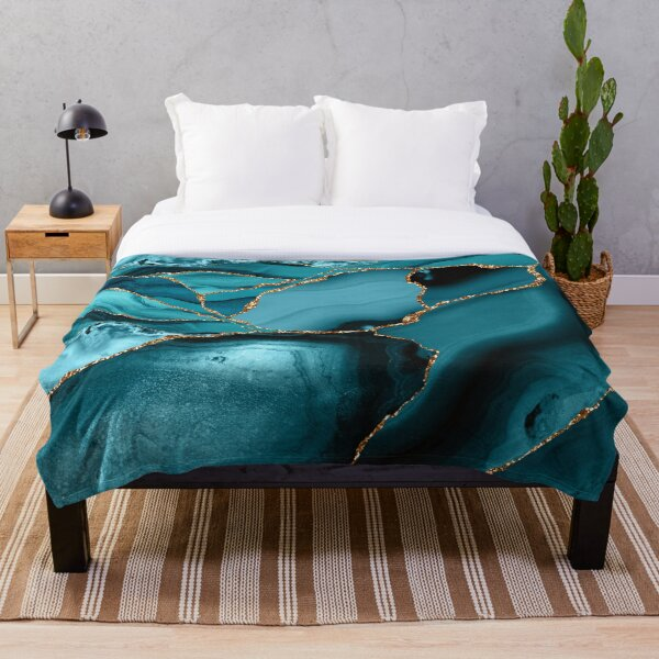 Teal And Gold Marble Landscape Waves Throw Blanket