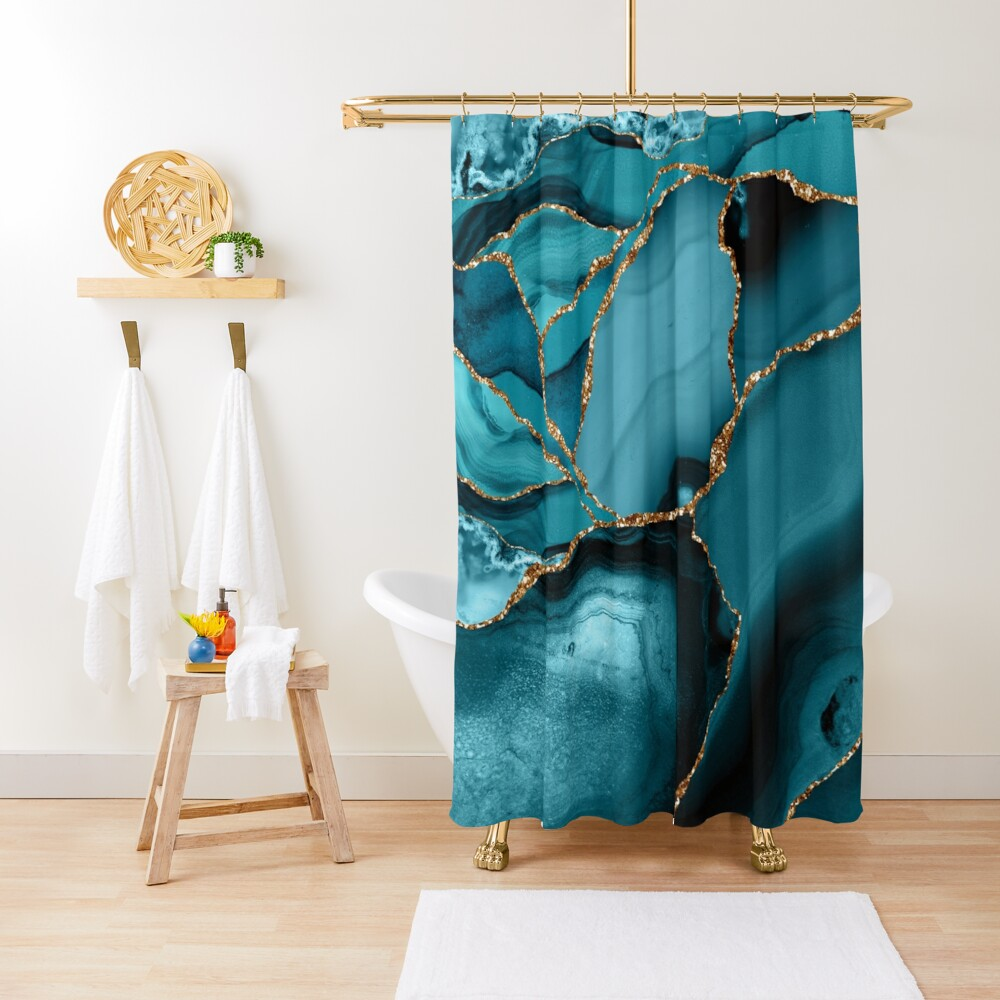 Teal And Gold Marble Landscape Waves Shower Curtain