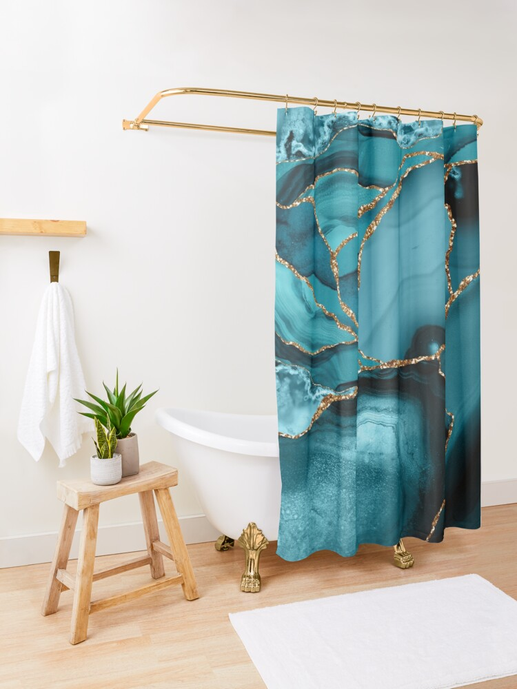 Alternate view of Teal And Gold Marble Landscape Waves Shower Curtain
