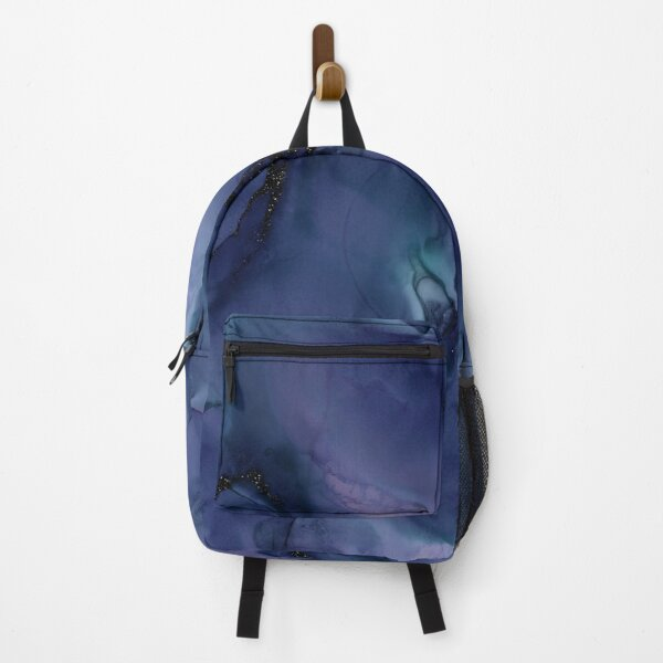 Blue liquid Marble Ink and black Glitter Backpack