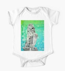 Traditional Watercolor and Ink Lion Statue  One Piece - Short Sleeve