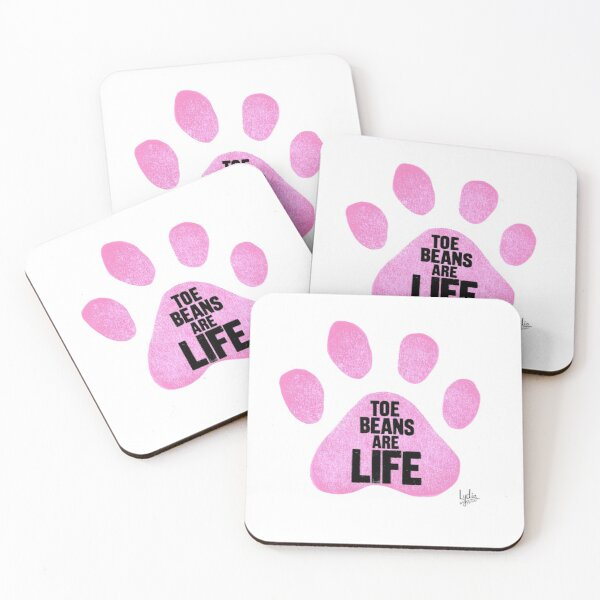 Toe Beans Are Life Pink Paw Print Coasters (Set of 4)