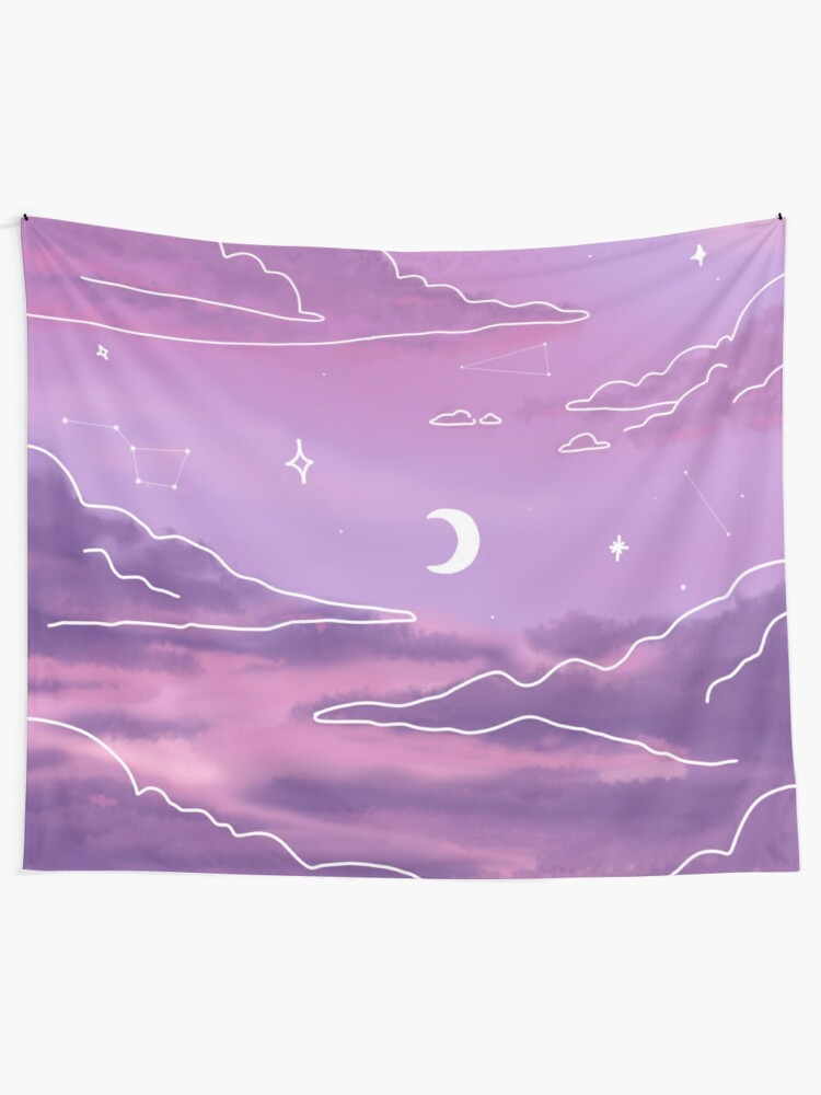 Alternate view of Purple Sunset View Tapestry