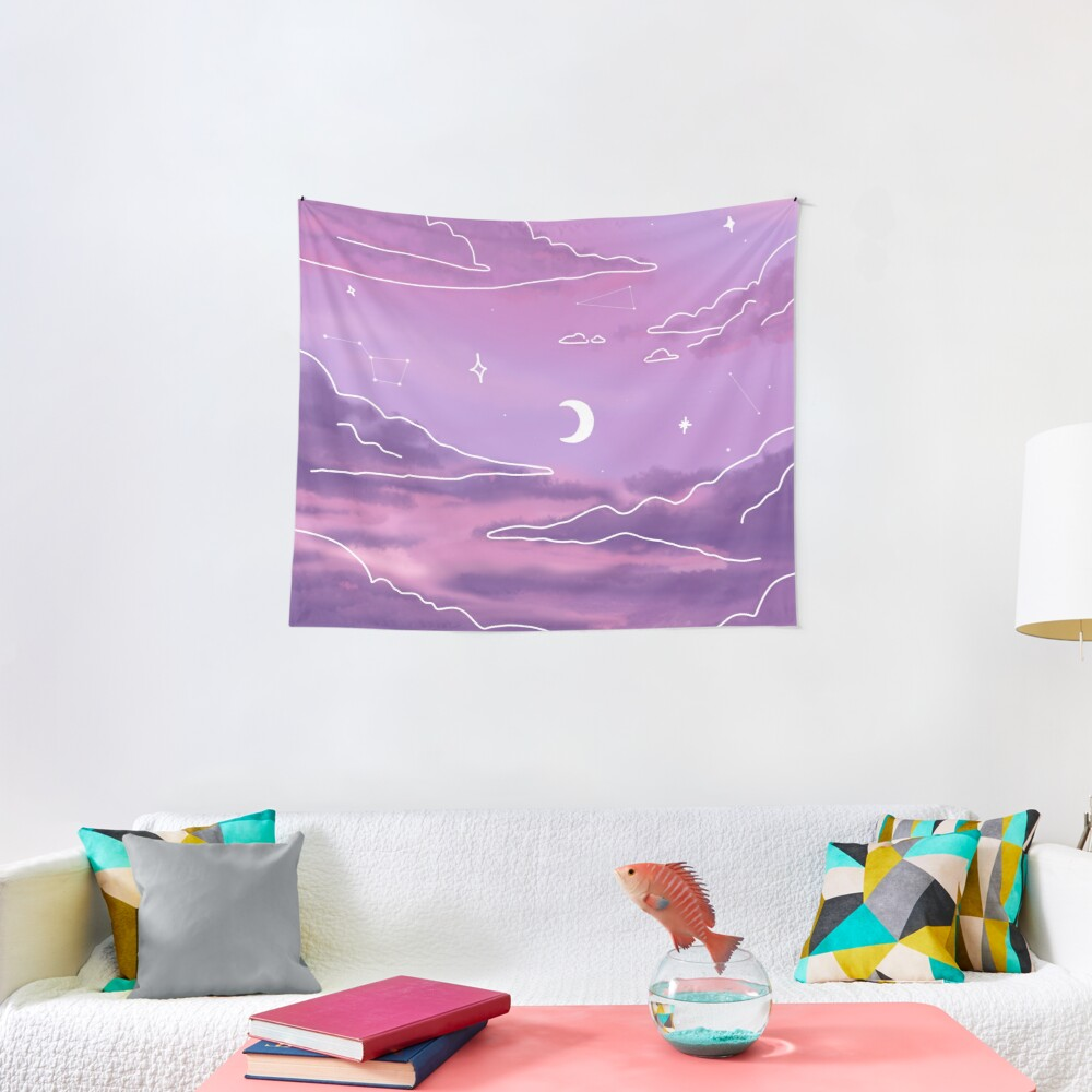Purple Sunset View Tapestry