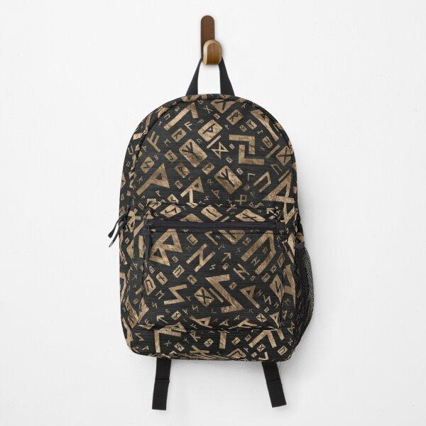 Elder Runes - Futhark Pattern Gold on Black Wood #2 Backpack