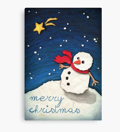 Paper Snowman Canvas Print