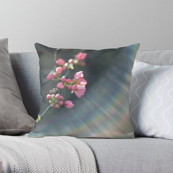 Rainbow and pink blossom Throw Pillow