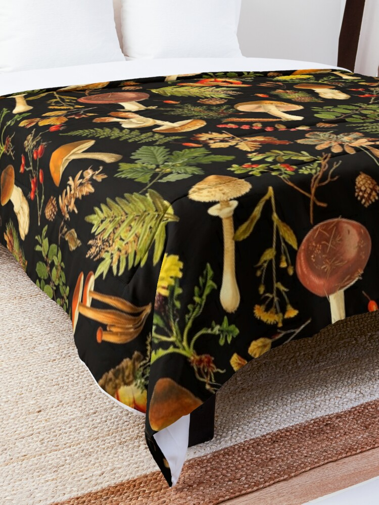Alternate view of Vintage toxic mushrooms forest pattern on black Comforter