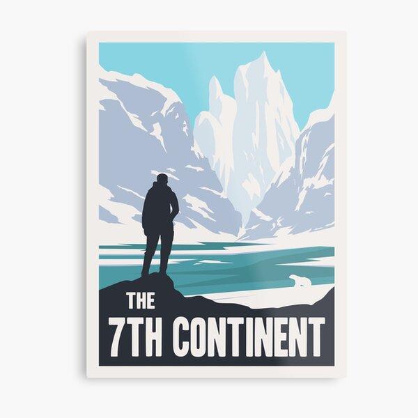 Le jeu de société du 7e continent - Style d'affiche de voyage minimaliste - Art de jeu Impression métallique