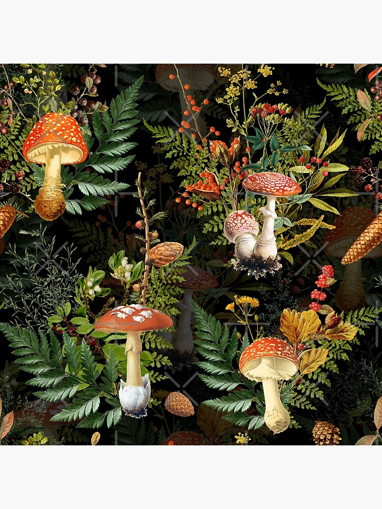 vintage toadstools in the forest on black by UtArt