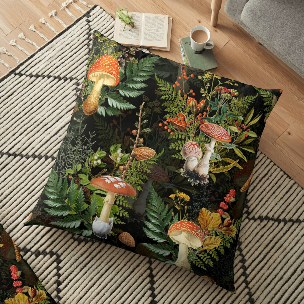 vintage toadstools in the forest on black Floor Pillow