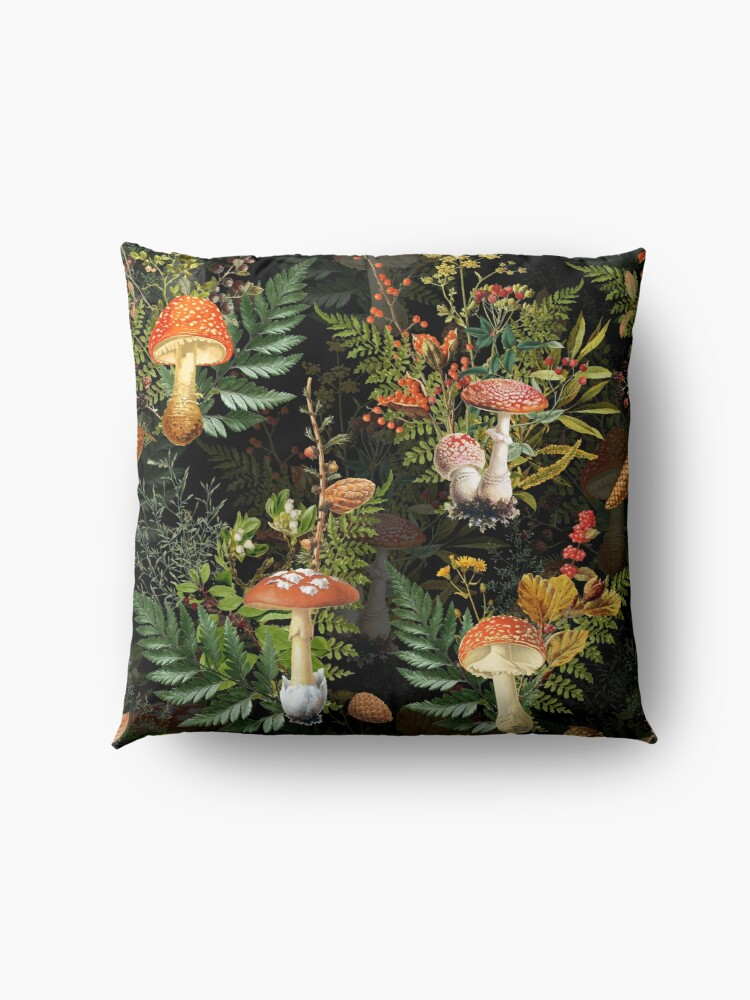 Alternate view of vintage toadstools in the forest on black Floor Pillow