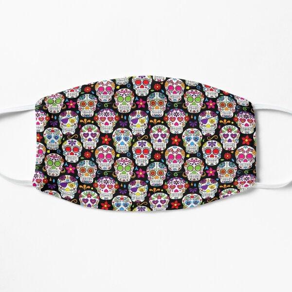 cráneos de azúcar de colores brillantes sobre un fondo negro Mascarilla plana