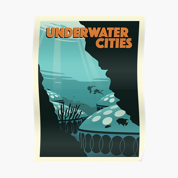 Underwater Cities Board Game- Minimalist Travel Poster Style - Gaming Art Poster