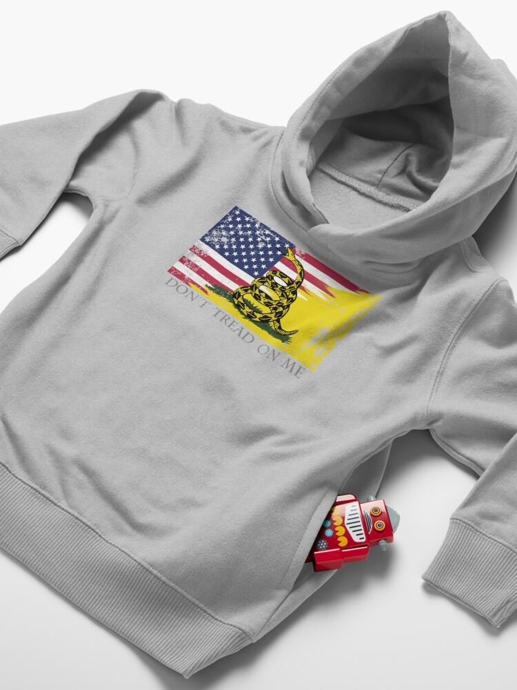 Alternate view of American Gadsden Flag Worn Toddler Pullover Hoodie